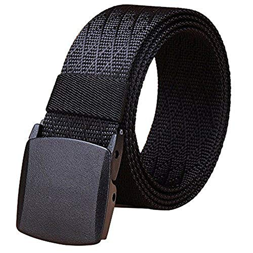 Fairwin Men's Military Tactical Web Belt, Nylon Canvas Webbing YKK Plastic/Metal Buckle Belt (Black,Waist 45