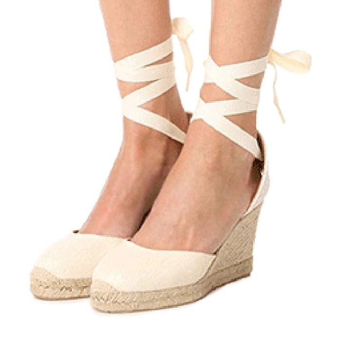 Tomwell Sandalias Mujer Cuña Alpargatas Moda Bohemias Romanas Sandals Rivet Playa Verano Tacon Zapatos: Amazon.es: Zapatos y complementos