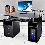 2 Trays Printer - Contemporary Home Office Espresso Computer Desk Table with Elevated Printer Shelf, Pull-Out Keyboard Tray and 2 Drawers by Blackpoolfa (Black)