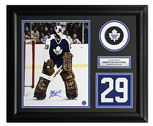 AJ Sports World Mike Palmateer Toronto Maple Leafs Signed Franchise Jersey Number 23x19 Frame