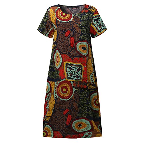 SIMSHION Womens Vintage Short Sleeve Floral Printed Pattern Round Neck Casual Midi Long Dress Yellow M