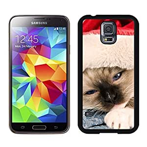 Best Buy Sleepy Red Hat Christmas Cat Samsung Galaxy S5 Black Silicone Case,Samsung I9600 Case