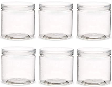 d69c5a56244a Slime Storage Jars with Lids -Large 20 oz Size (6 Pack) - Clear ...