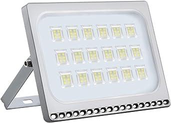 Proyector LED para exteriores, reflector IP67, diseño ultradelgado y ultraligero para jardín, jardín, terraza, cuadrado (Blanco frío, 100W): Amazon.es: Iluminación