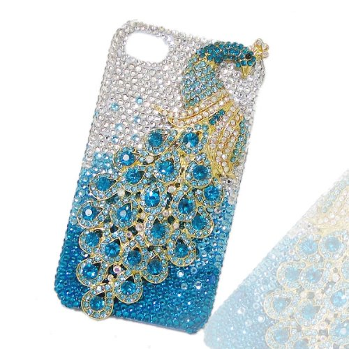 EVER FAITH Luxury Peacock Peafowl Case Cover Shell For iPhone 4/4S Blue Austrian Crystal](Iphone 4 Case Peacock)