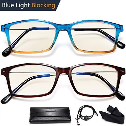 Blue Light Blocking Reading Glasses - 2 Pack Lightweight UV Filter Fashion Rectangle Frame Quality Pocket Plastic Black Reading Glasses Men&Women +3.5
