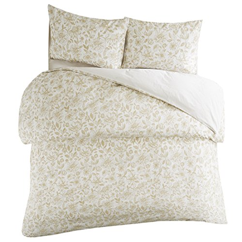 SCM Halsey Cotton Blend Duvet Cover Full/Queen Size – Taupe, Ivory – 3D Embroidered Vintage Floral Pattern Duvet - 3 Piece Full Queen Duvet Cover Set – Zipper Closure with (Embroidered Floral Duvet)