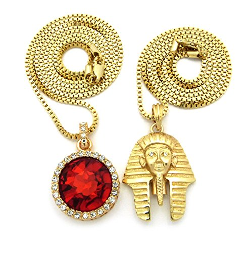 """Gold-Tone Pharaoh King, Round Ruby Color Pendant 24"""",30"""" Box Chain 2 Necklace Set RC989G"""