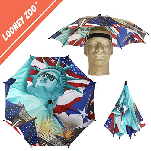 Epic Easy Halloween Costumes (Funbrella Hats - PATRIOTIC Umbrella Hat - The Lit Lady Liberty - Rain Sun Resistant -Easy Elastic Fit for Adults & Kids - Umbrella Hats for a Costume Party, Festival, Fishing, Hiking and the Beach)