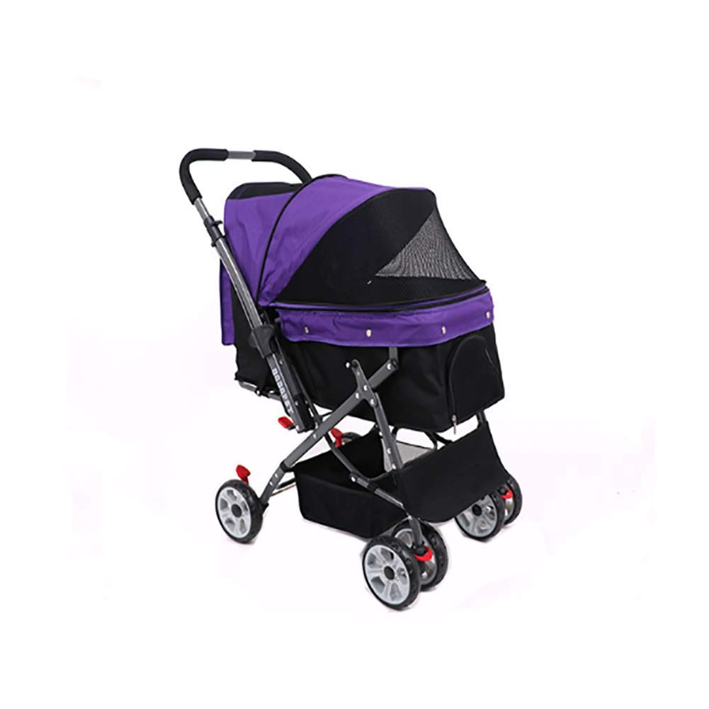 Purple SHSHKO Four Wheel Pet Stroller, Fit Cat, Dog And More, Foldable Carrier Strolling,Purple