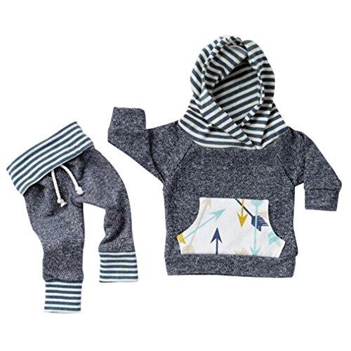 Newborn Striped Hoodie Sweatshirt Leggings