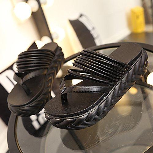 de grueso FLYRCX verano aire al chanclas inferior ladies' pie antideslizante clip Zapatillas playa libre de SHOES black moda gxXH8qXEr
