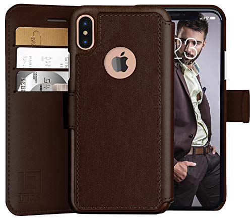 LUPA iPhone Xs Wallet case, iPhone X Wallet Case, Durable and Slim, Lightweight with Classic Design & Ultra-Strong Magnetic Closure, Faux Leather, Dark Brown, for Apple iPhone - Leather Closure Magnetic