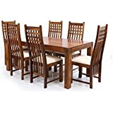 Dining table with 6 Chair,LifeEstyle-com Six Seater Dining Table Set In Sheesham Wood (Brown)