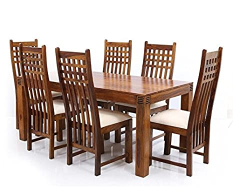 d5723ec5648 LifeEstyle Sheesham Wood Dining Table with 6 Chair (Brown