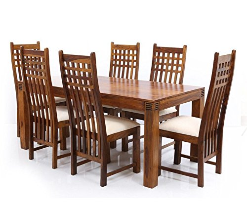 6190883999c9a LifeEstyle Sheesham Wood Dining Table with 6 Chair (Brown