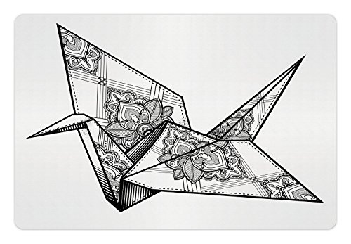 Lunarable Art Pet Mat for Food and Water, Origami Style Crane Bird Design Hand Drawn Monochrome Far East Asia Folklore Motif, Rectangle Non-Slip Rubber Mat for Dogs and Cats, Black and White