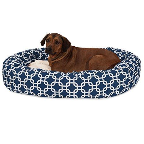 Bed Bagel 52 (52 Inch Navy Links Sherpa Bagel Dog Bed)