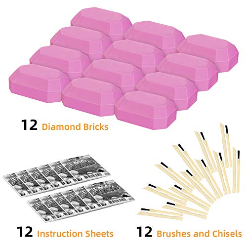 KARAZZO 12 Gemstone Dig Kits,Fairie Gemstone Excavation Science Dig Kit Archaeological Excavation Educational Toys for Kids Over 6+ Years
