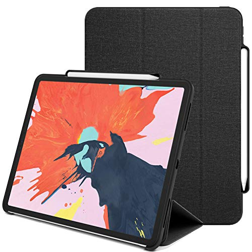Luvvitt iPad Pro 12.9 2018 Case with Pencil Holder (Wireless Charging Compatible) Front and Back Full Body Cover (Compatible with 2018 Version only) - Heather Black