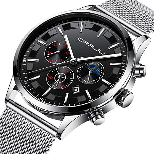 Fashion Quartz Watch - Mens Watches Stainless Steel Black Classic Luxury Casual Watches with Multifunctions Chronograph Sport Watches Waterproof 30M Business Fashion Quartz Wrist Watch for Men - Silver Black