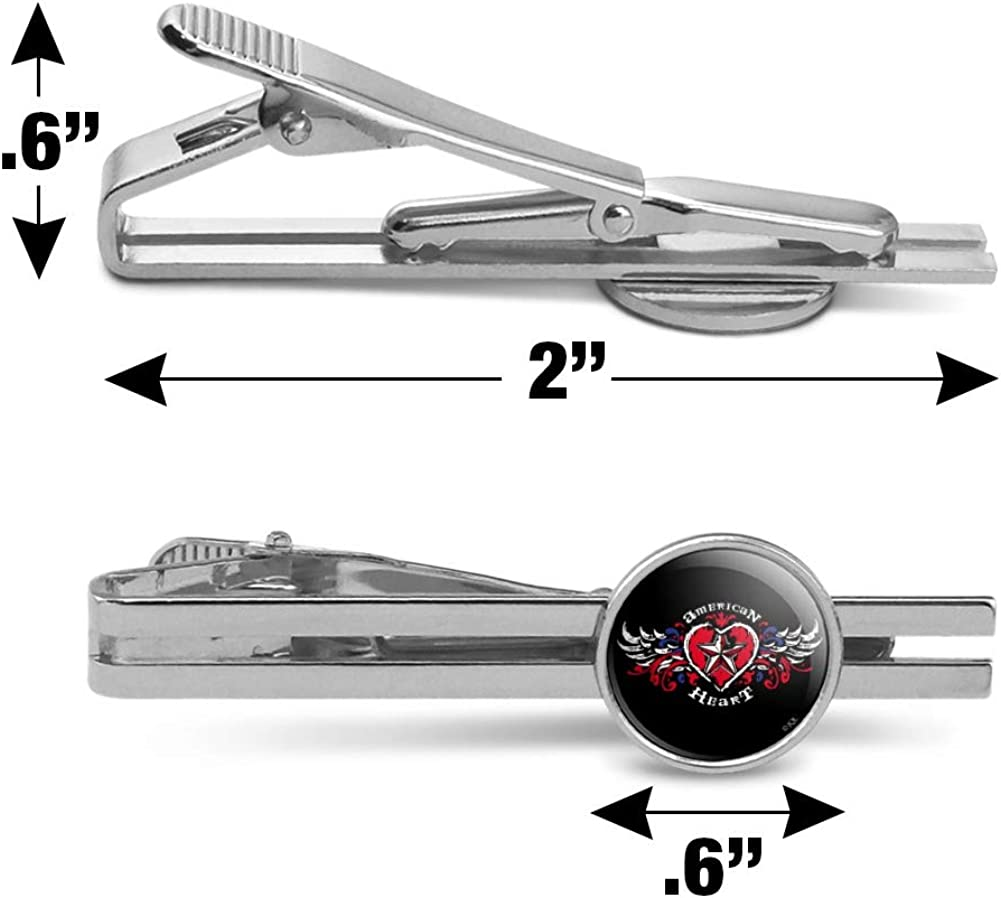 GRAPHICS /& MORE American Heart Flag Red White Blue Motorcycle Biker Round Tie Bar Clip Clasp Tack Silver Color Plated