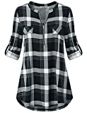 Business Tops for Women, Juniors Dressy Blouses Notch V Neck Roll up Half Sleeve Aline Curved Hem Stylish Semi Formal Multi Color Block Plaid Print Tunic Shirt with Chest Flat Black L