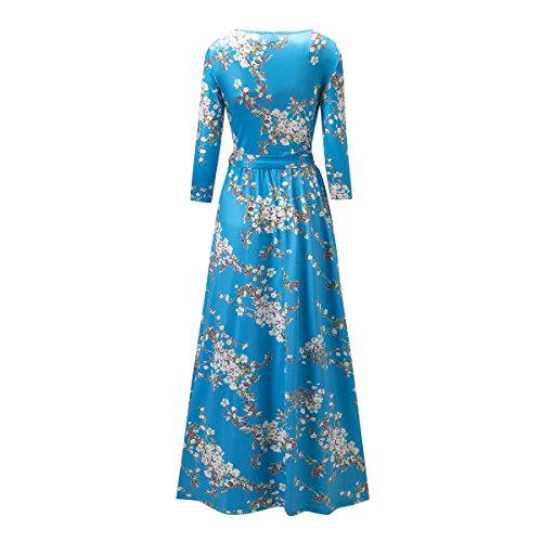 Sky Printed Full Womens Maxi Sleeves Blue Vintage Dress Elegant Long Engood O Floral Neck WFAXSA7