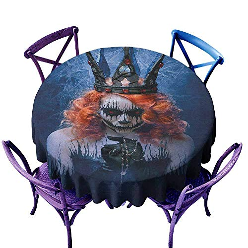 ONECUTE Indoor/Outdoor Round Tablecloth,Queen Queen of Death Scary Body Art Halloween Evil Face Bizarre Make Up Zombie,for Events Party Restaurant Dining Table Cover,50 INCH Navy Blue Orange Black -