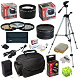 Must Have Accessory Kit For Canon EOS Rebel XSi XS T1i 450D 500D 1000D Kiss F X2 X3 DSLR Digital Camera includes - 52mm 3 Piece Pro Filter Kit (UV, CPL, FLD) + 2.2x High Definition II Telephoto Lens + 0.43x High Definition II Wide Angle Panorama Macro Fisheye Lens + LP-E5 LPE5 Ultra High Capacity 1800mAh Replacement Lithium-ion Battery Pack with Rapid AC/DC Wall Car Travel Battery Charger With European Adapter + 54' Inch Professional Video Tripod + Deluxe Photo/Video Camera Case Bag + Hot Shoe