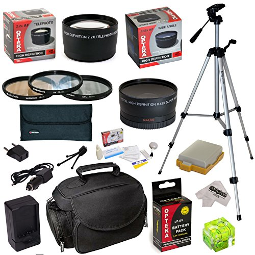 Must Have Accessory Kit For Canon EOS Rebel XSi XS T1i 450D 500D 1000D Kiss F X2 X3 DSLR Digital Camera includes – 52mm 3 Piece Pro Filter Kit (UV, CPL, FLD) + 2.2x High Definition II Telephoto Lens + 0.43x High Definition II Wide Angle Panorama Macro Fisheye Lens + LP-E5 LPE5 Ultra High Capacity 1800mAh Replacement Lithium-ion Battery Pack with Rapid AC/DC Wall Car Travel Battery Charger With European Adapter + 54″ Inch Professional Video Tripod + Deluxe Photo/Video Camera Case Bag + Hot Shoe