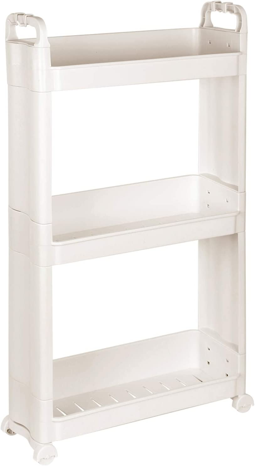 Livememory 3 Tier Slim Rolling Storage Cart with Wheel, Narrow Shelf Slide Out Storage Rack Shelves for Narrow Places - Beige Plastic