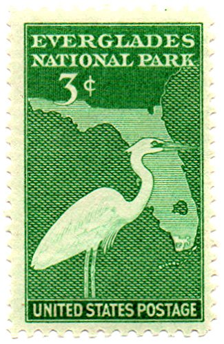 US Postage Stamp Single 1947 Great White Heron Map Of Florida Issue 3 Cent Scott #952