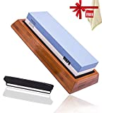 Premium Knife Sharpening Stone 1000/6000 Grit Two Side Whetstone With Non-Slip Bamboo Holder and Rubber Base With Angle Guide,Polishing Tool Knife Waterstone For Kitchen Hunting Independence Day  Gift