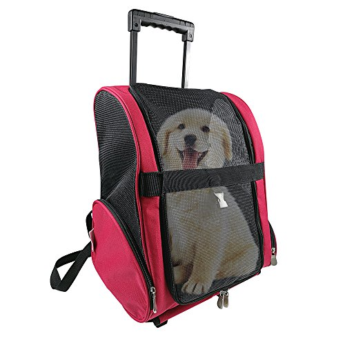Pet Travel Rolling Luggage Carrier Bag Backpack for Dogs,Cats & small - Rolling Carriers Dog