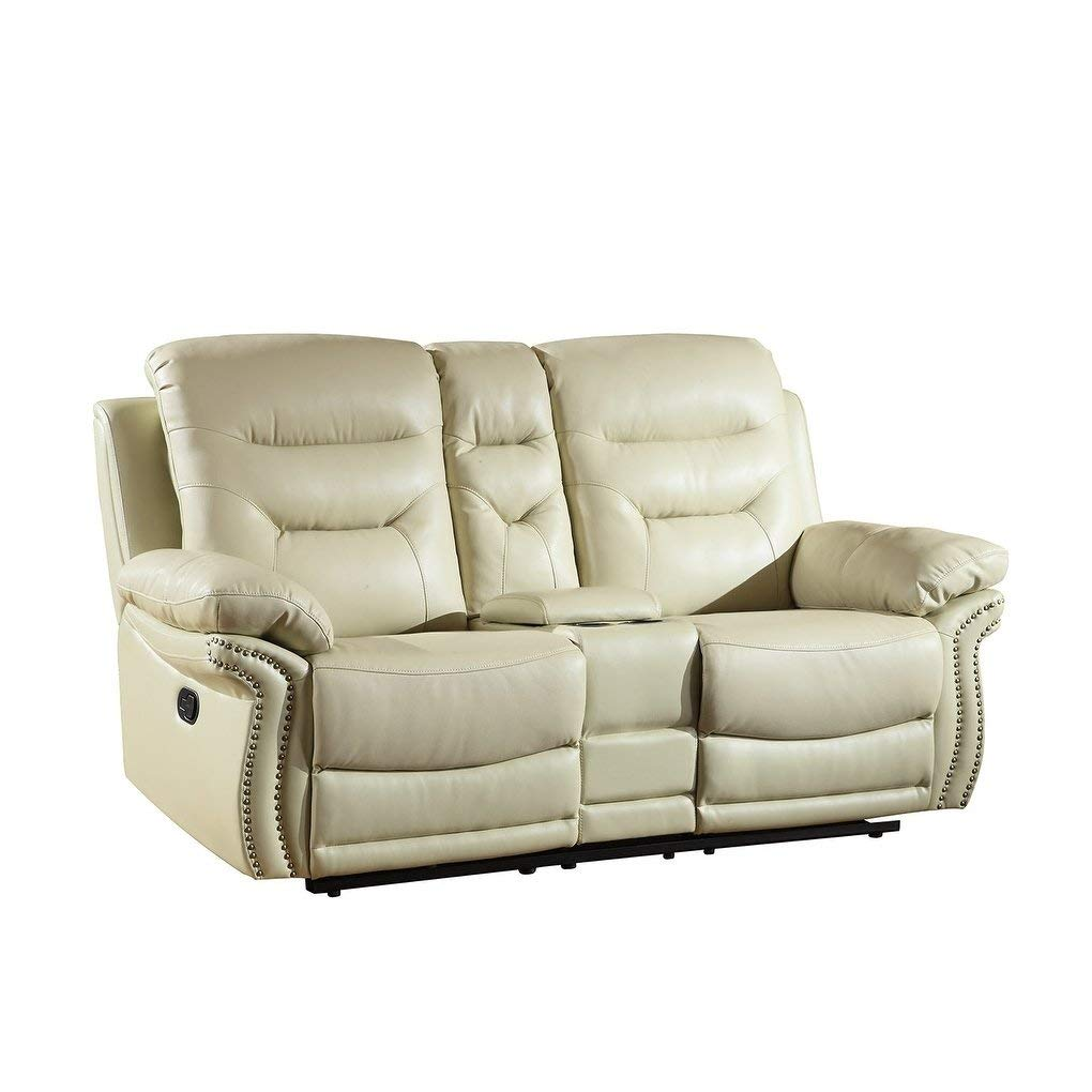 Amazon com blackjack furniture 9392 beige cl the andrews collection reclining living room leather console loveseat beige kitchen dining