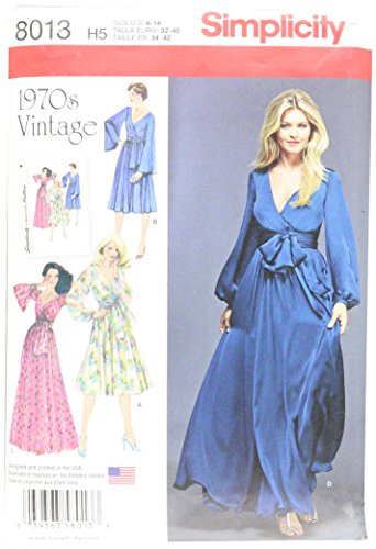 Simplicity US8013H5 Patterns Misses' Vintage 1970's Dresses' Size: H5 (6-8-10-12-14), 8013 ()