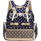 Baby Lovess Multifunctional Polka Dots Waterproof Fabric Baby Travel Backpack Diaper Tote Bag for Mom and Dad,Blue