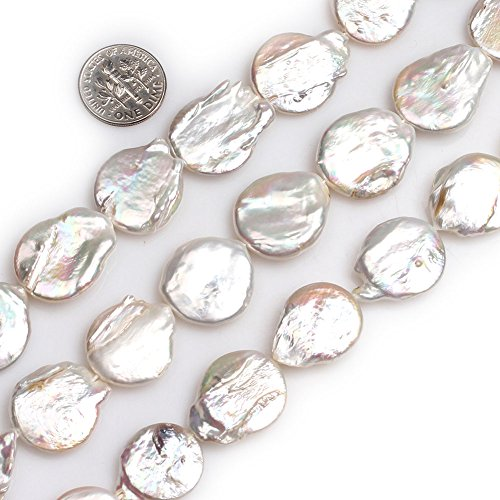 - GEM-inside Natural 18x21mm White Big Large Flat Freeform Pearls Stone Beads for Jewelry Making Loose Beads Strand 15