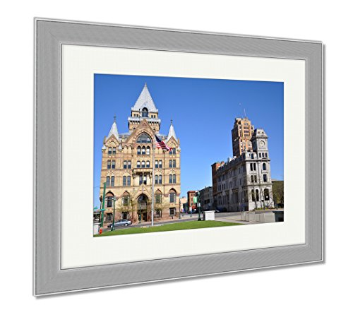 Ashley Framed Prints Syracuse Savings Bank Building Left And Gridley Building Right At Clinton, Wall Art Home Decoration, Color, 30x35 (frame size), Silver Frame, AG6086035 (Bank Syracuse Of America New York)