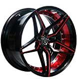"22 Inch Staggered Rims (Black and Red) - FULL Set of 4 Wheels - Made for MAX Performance - Racing Wheels for Challenger, Mustang, Camaro, BMW and More! Rines Para Carros - (22x9"" / 22x10.5"") - MQ 3259"