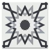 Moroccan Mosaic & Tile House CTP70-01 Merzoga 8''x8'' Handmade Cement Tile in Multicolor (Pack of 12), Gray White Black
