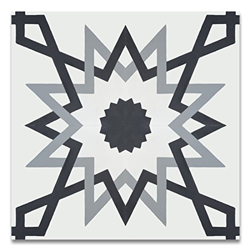 Moroccan Mosaic & Tile House CTP70-01 Merzoga 8''x8'' Handmade Cement Tile in Multicolor (Pack of 12), Gray White Black by Moroccan Mosaic & Tile House