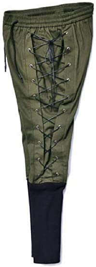 YAXINHE Men Medieval Renaissance Patchwork Retrol Elastic Drawstring Harem Pants