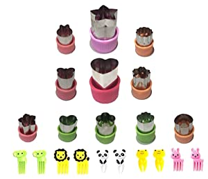 11 Pcs Stainless Steel Cookie & Vegetable & Fruit Cutters Shapes Sets, Mini Cookie Stamp Mold, Sandwich Cutters for Kids Baking, Bento Box and Food Decoration Tools
