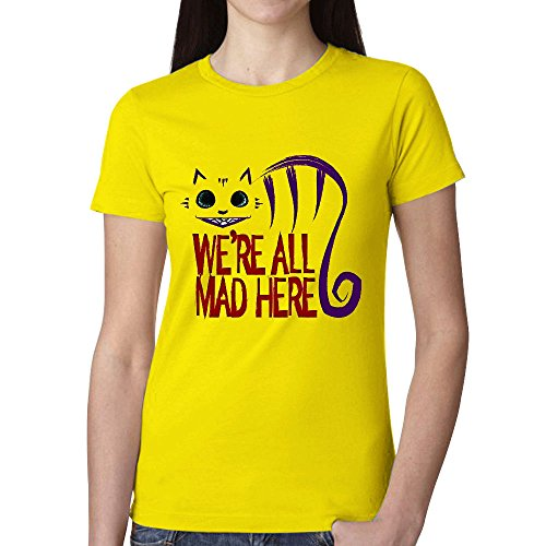 Timico Design We're All Mad Here Women Tshirts Yellow (One Direction Phone Charm compare prices)