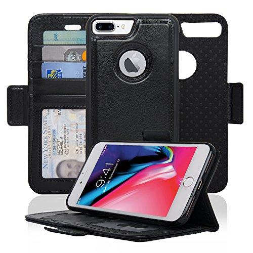 Navor Detachable Magnetic Wallet Case RFID Protection, Logo Hole, Compatible for iPhone 8 Plus [Vajio Series]-Black (IP8PVJBK) (Best Iphone Case Manufacturers)
