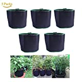 5-Pack 10 Gallon Nonwoven Fabric Pots/Vegetable Patio/Growing Bags for Plants (10-Gallons)