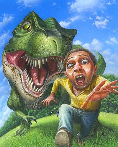 Tyrannosaurus Rex Jurassic Park Dinosaur Chasing A Man - Extinct Predator Art Poster -