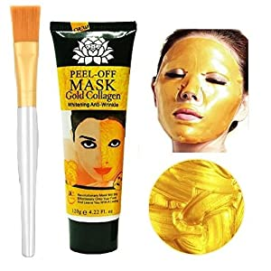24k Gold Collagen Peel-off Facial Mask with Skin Soft Brush Applicator, Whitening Anti-Wrinkle Face Masks Skin Care Face Lifting Firming Moisturize 4.22 Fl.oz